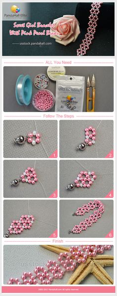 Sweet girl bracelet DIY with Pandahall Elite pink pearl beads
