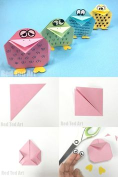 Easy Paper Bird Origami for Kids. how ADORABLE are these quirky paper birds? I love the combination of Origami and Doodle Art of this adorable Easter Origami Project for kids! crafts for boys Easy Origami Bird for Kids - Red Ted Art Origami Simple, Kids Origami, Origami Ball, Origami Paper, Origami Bird Easy, Heart Origami, Origami Birds, Origami Ideas, Origami Flowers