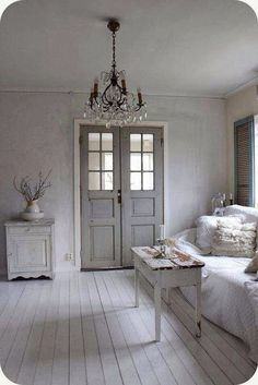 Serene French blue grey/chandelier/shabbychic/white hardwood floor/french doors