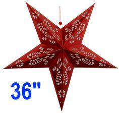 """Star Paper Lantern 36"""" Red Color  Dimension: 36 Inches  Bulb and cord are not included"""