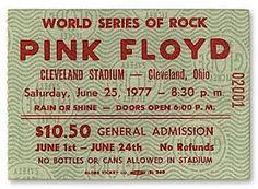 Admission ticket stub for the Pink Floyd concert at Cleveland Stadium on June 1977 Pink Floyd Tour, Cleveland Ohio, Cleveland Concerts, Cleveland Rocks, Cleveland Indians, Pink Floyd Concert, Admission Ticket, Ticket Stubs, Rock Concert