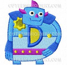 Free Embroidery Design: Robot Font – Letter D Cute Embroidery, Embroidery Fonts, Embroidery Ideas, Robot Font, Cute Alphabet, Letter D, Free Machine Embroidery Designs, Robotics, Appliques