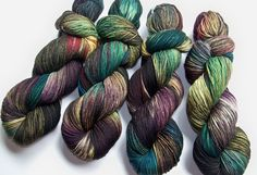 This listing is for one 100g/463yd skein of yarn as shown in the photos. This is my one and only Walking Dead colorway. I have a hand painted