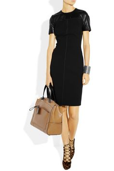 Reed Krakoff Leather-trimmed stretch wool-blend dress - 65% Off Now at THE OUTNET