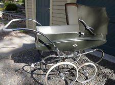 1960 Pedigree Balmoral English Pram Stroller Buggy Carriage Green w Chrome