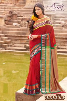 Online Shopping of Red Printed Party Wear Cotton Saree-Nandika from SareesBazaar, leading online ethnic clothing store offering latest collection of sarees, salwar suits, lehengas & kurtis Chiffon Saree, Cotton Saree, Cotton Silk, Printed Cotton, Silk Sarees, Party Wear For Women, Party Sarees, Casual Saree, Print Chiffon