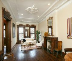 Love the wood details. Brooklyn New York brownstone Victorian interior Brownstone Interiors, Victorian Interiors, Victorian Decor, Victorian Homes, Victorian Gothic, Brownstone Homes, Vintage Homes, Victorian Farmhouse, Victorian Cottage