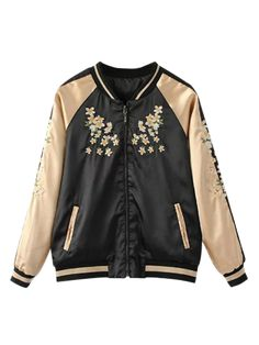 Reversible Embroidered Bomber Jacket - BLACK S