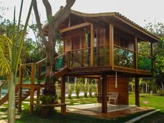 House of campi Wooden House Design, Bamboo House Design, Tropical House Design, Tropical Houses, Small House Design, Hut House, Pole House, Tiny House Cabin, Cabin Homes