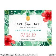 "Tropical Pineapple Hawaiian Hibiscus Save the Date Postcard ================= ABOUT THIS DESIGN ================= Tropical Pineapple Hawaiian Hibiscus Save the Date Postcard. (1) For further customization, please click the ""Customize"" button and use our design tool to modify this template. All text style, colors, sizes can be modified to fit your needs. (2) If you need help or matching items, please contact me."