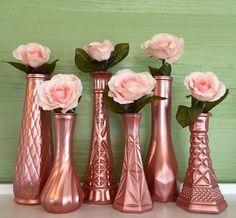 Rose Gold Vases, Rose Gold Wedding, Rose Gold Centerpieces, Rose Gold Bud Vase, Rose Gold Decor, Gold Vases, Gold Wedding, Gold Vases by TheBarnett on Etsy https://www.etsy.com/listing/513268705/rose-gold-vases-rose-gold-wedding-rose
