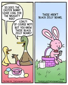 What Does the Easter Bunny Leave Bad Kids? - Comics from around the Web Funny Easter Memes, Easter Jokes, Funny Jokes, Easter Cartoons, Dad Jokes, Funny Gifs, Funny Cartoons, Funny Comics, Daily Cartoons