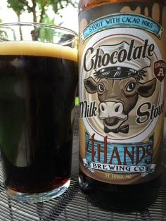 """4 Hands Brewing Chocolate Milk Stout • Cocoa, caramel and roasty aroma, smells nice but you really gotta work for it! Chocolate flavors are prominent, quite creamy and milky. Pretty much what I expected, and don't get me wrong, the flavors were good. """"Good but doesn't taste like beer. Like an alcoholic chocolate milk."""" Nice chocolate, very simple. Vanilla hints show through. A little thin. But the flavors were good and I had no problem finishing all 22 ounces."""