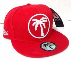 Wool BLVD PALM TREE SNAPBACK HAT Red White Boulevard Supply Flat Bill Men/Women #BoulevardSupplyCo #BaseballCap