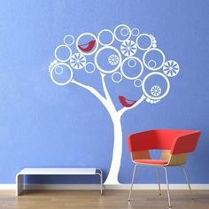 Vinyl Wall Decal Sticker Art - Modern Abstract Tree with Birds - extra large. $44.95, via Etsy.