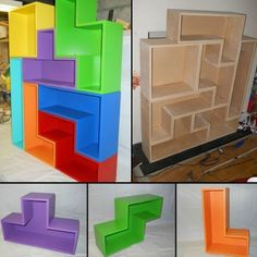 How to build a tetris bookcase – DIY projects for everyone! Diy Design, Woodworking Projects, Diy Projects, Game Room Design, Game Room Decor, Gamer Room, Craft Storage, Diy Table, Diy Furniture