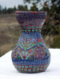 Polymer Clay Vase  65  inch Glass Vase Covered with by jbwolen, $30.00