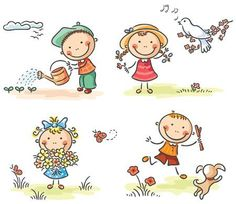 Illustration of Happy kids outdoors in spring vector art, clipart and stock vectors. Drawing Lessons For Kids, Art Drawings For Kids, Cartoon Drawings, Art For Kids, Kids Vector, Vector Art, Outdoor Activities For Kids, Bullet Journal Art, Cute Clipart