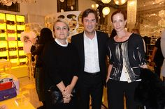 Silvia Venturini Fendi, Pietro Beccari and Vanessa Friedman at the Baguettemania pop up store at 10 Corso Como, Milan.