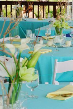 Aqua tented beach reception