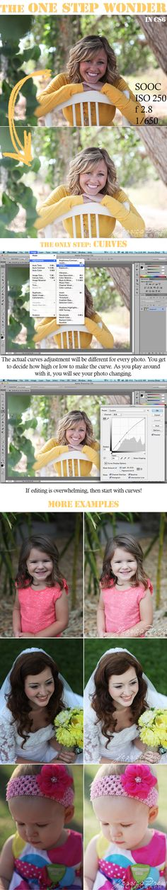 Editing photos with Curves: BloggerPhotographer says:   I don't know about you, but if I could only use one tool in photoshop for the rest of my life, it would be Curves. It can do so much! Not only can it lighten up your images, but it can make your colors and contrast pop by making an S curve. To do that, just add a second point in the curves window, and drag it down a bit. This is pictured here.