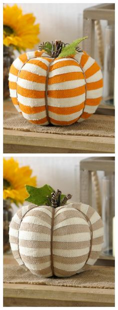 Place adorable little Striped Burlap Pumpkins around your home for fun accents for fall! Available in bright orange and tan, these cute pumpkins are the perfect way to sprinkle the season throughout your home without going overboard.