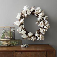 Magnolia Artificial Flower Wreath    Crate and Barrel