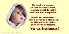Felicitari de Botez - Un copil e o minune, ce vine in aceasta lume - mesajeurarifelicitari.com Funny Texts, Poster, Sweet, Baby, Birthday, Posters, Newborn Babies, Funny Text Messages, Infant