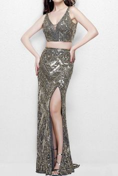 PRIMAVERA COUTURE on Sale: 3043 Charcoal Metallic 2 Piece Sequin Beaded Dress Buy from Best selection of authentic designer dresses online. Beaded Dresses, Prom Dresses Two Piece, Buy Dress, Dresses Online, Designer Dresses, Charcoal, Metallic, Sequins, Two Piece Skirt Set