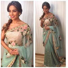 Buy Bollywood Beauty Bipasha Basu In Mint Green Netted Saree online, Latest…