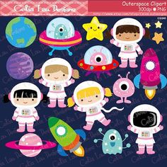 Espacio gráfico chica astronautas cohetes Aliens planetas