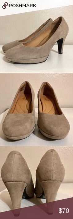 "Tan Suede Clark's Indigo Platform Heels Tan suede pumps in excellent condition! One small scratch on the back of the left heel as seen in photos, but otherwise like new! 3.25"" heel and 0.5"" platform. Ships same or next day from smoke free home! Clarks Shoes Heels"