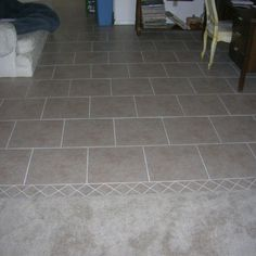 Tile floor in main room