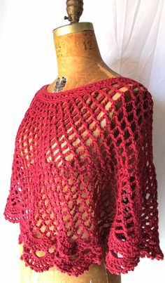 Womens crochet lace capelet / poncho red size 12 by CoffyCrochet