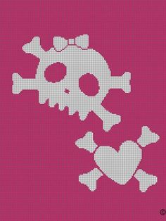 PINK WHITE SKULL X BONES CROCHET PATTERN AFGHAN GRAPH E-MAILED #665 Graph Crochet, Crochet Cross, Afghan Crochet Patterns, Cross Stitch Patterns, C2c Crochet, Crochet Afghans, Bead Patterns, Crochet Monster High, Cross Stitch Skull
