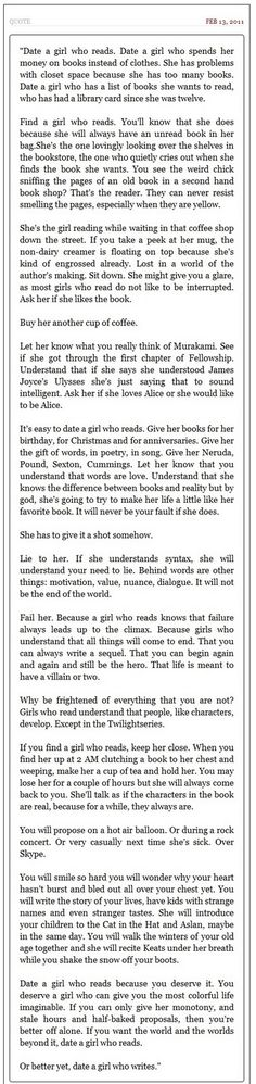 Date a girl who reads. Or better yet, a girl who writes. I adore this!