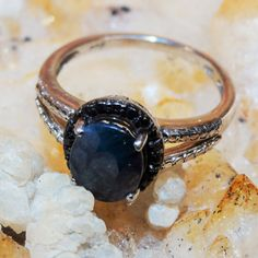 Regular Price 159.99 Natural Midnight Blue Sapphire/Black Diamond Ring 2.39ct sz7 5 Gemstone 925 Sterling Silver Free Domestic Shipping by Montanasilver796 on Etsy