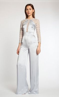 Satin-backed crepe jumpsuit by Temperley London featuring sheer tulle panels embellished with metallic embroidery, Swarovski crystals and bugle beads.
