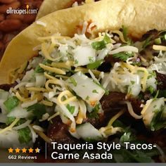 "Taqueria Style Tacos- Carne Asada | ""This is a great recipe for authentic Mexican taqueria style carne asada tacos (beef tacos). These are served on the soft corn tortillas, unlike the American version of tacos. """