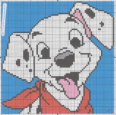Happy Dalmatian Puppy with Red Bandana. Minnie Baby, Baby Disney, Perler Bead Disney, Graph Paper Art, C2c Crochet, Video Games For Kids, Tissue Box Covers, Baby Cardigan, Disney Cars