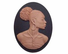 1pc 25x18mm Black African American cameo by cameojewelrysupply