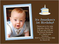 Baby Cakes Blue Birthday Invitation