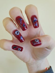 #tbt to my last design, early Halloween Nail art! Full details can be found in the link Simple Nail Art Designs, Easy Nail Art, Cool Designs, Daiso, Halloween Nail Art, Nail Art Stickers, You Nailed It, Link, Simple Nails