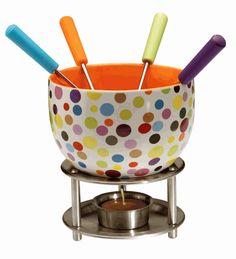 Fondue Set (Colorful Spots Pattern)