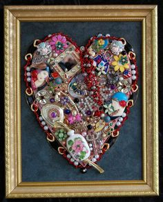 crafts with vintage jewelry | Vintage Jewelry Heart~ Beautiful