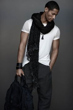 I wish more men would be bold enough to pull off a scarf.