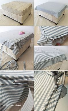 Sewing Projects Ottoman Slipcover Fit Tips - Have you ever made an ottoman slipcover and the top fit too small even though your measurements were spot on? Did the welt cord ride up and pull away from the corners? That's usually what hap… Reupholster Furniture, Upholstered Furniture, Upholster Chair, Furniture Projects, Furniture Makeover, Ottoman Slipcover, Ottoman Cover, Drop Cloth Slipcover, Grey Ottoman