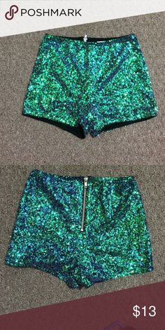 Sparkly Green Shorts April 2017