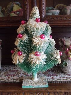 "Vintage Christmas Tree Large 20"" Bottle Brush Aqua with Pink Glass Ornaments"