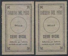 Peru 1924 Sellos Oficiales Sc Unlisted Drummond os24 Dos Singles 1 Con Defecto De La Placa